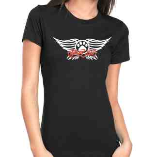 Aerosmith women tee front motley zoo animal rescue bydfault