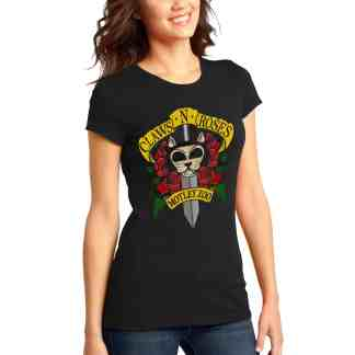 women tee CLAWS N ROSES front