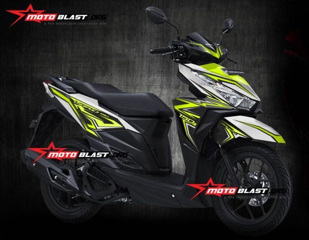 Modif striping Honda Vario 150Esp white Black thunder green lemon motoblast