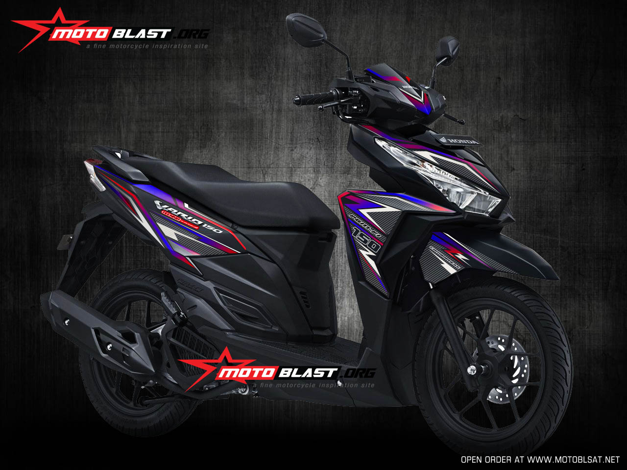 Graphic Kit Vario 150 Black Super Carbon Rainbow