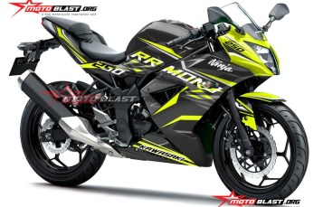 Modifikasi striping Kawasaki Ninja 250RR Mono Black Thunder Lemon Fresh