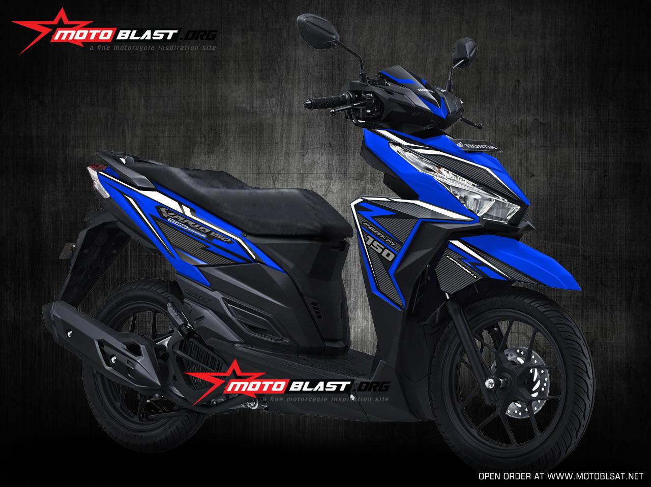 Graphic Kit Honda Vario 150 Blue Carbon