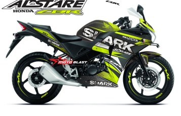 Modifikasi Striping Honda CBR150R Black Thailand SHARK Green lime
