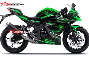Modifikasi striping Kawasaki Ninja 250RR Mono Green Razer