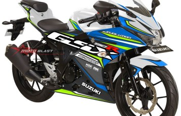 Modifikasi striping Suzuki GSX-R150 White blue RC