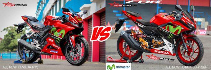 Kompare Penampilan All new Yamaha R15 Vs All New Honda CBR150R - Livery Movistar Motogp