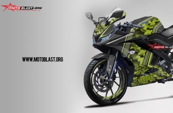 Modifikasi striping All New Yamaha R15 Black ARMY Green