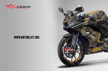 Modifikasi striping All New yamaha R15 Black ARMY