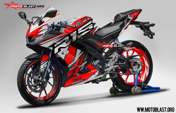 Modifikasi Striping All New Yamaha R15 Red Slash