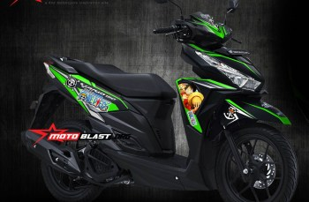 Modifikasi striping Honda Vario 125-150Esp Black One Piece Green Version