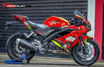 Modifikasi Striping Yamaha All New R15 Red AGV Pista Shark