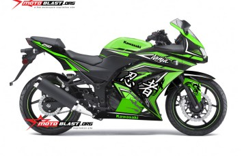 Modifikasi Striping Kawasaki Ninja 250R Karbu Green Dragon Kanji