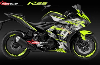 Modifikasi Striping Yamaha R25 Black Juventus Green Lime