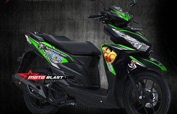 Modifikasi striping Honda Vario 150 Black One Piece Green