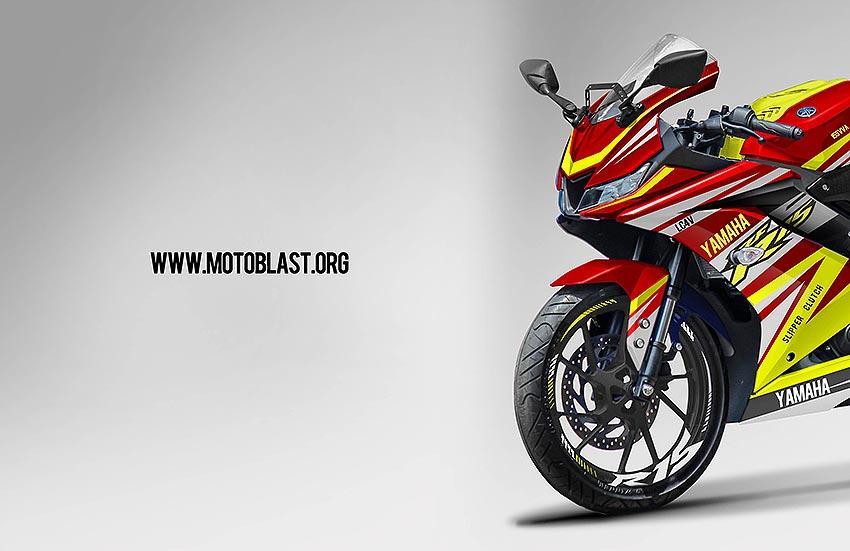 modifikasi striping yamaha   red race motoblast