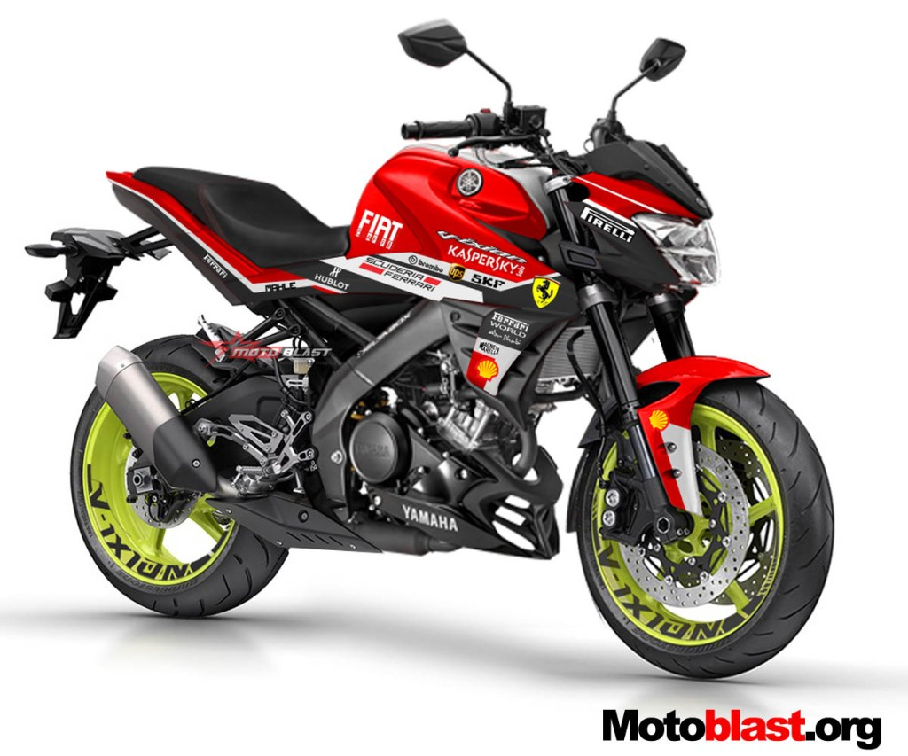Modifikasi Striping All New Yamaha Vixion R Ferrari Livery MOTOBLAST