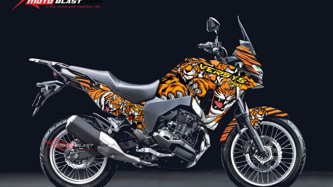 Modifikasi Striping Kawasaki Versys 250 Tiger Camuflase