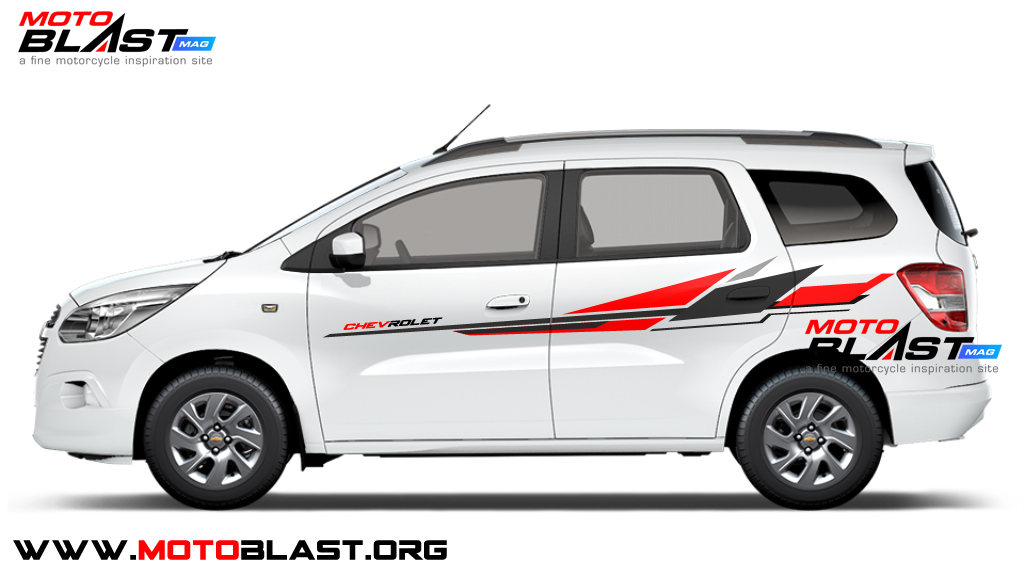 Modifikasi Stiker Mobil Chevrolet Spin White Simple