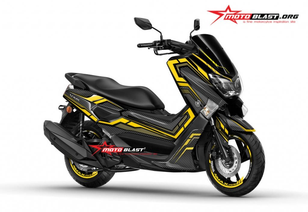 yamaha nmax black yellow gold carbon motoblast