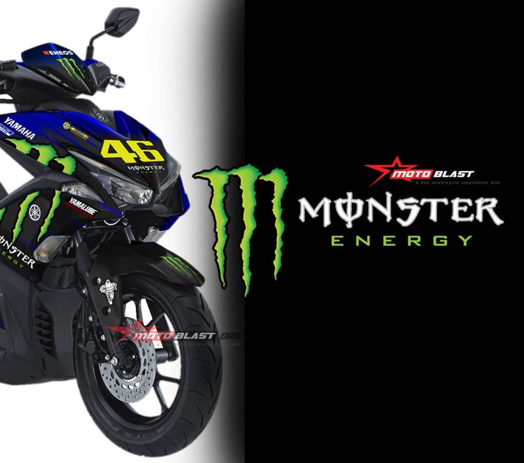 yamaha aerox  livery monster energy motogp  motoblast