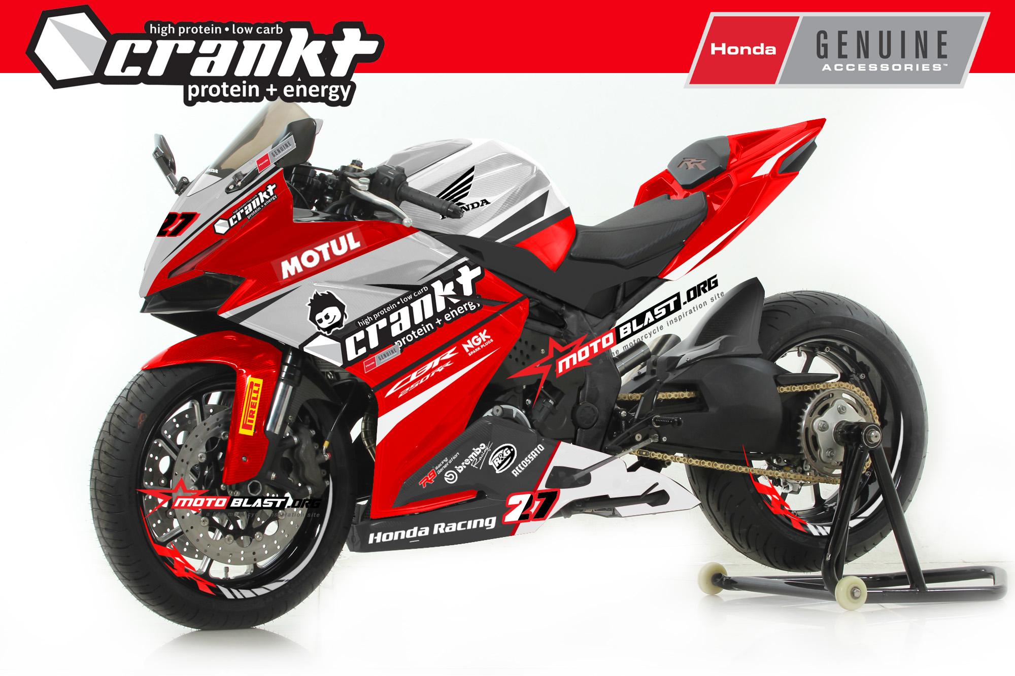 Modifikasi striping CBR250RR Crankt honda racing SBK  motoblast
