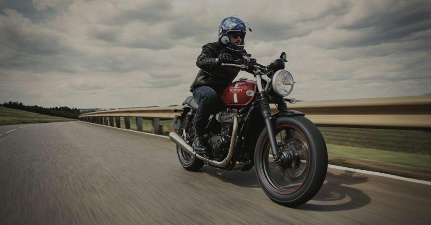 Man on Triumph Motorcycle