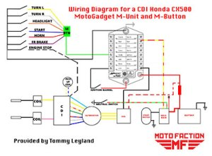 MotoGadget MUnit and Mbutton Wiring Schematic for a