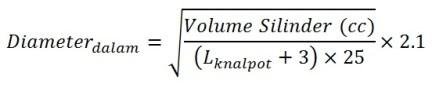 rumus diameter pipa knalpot