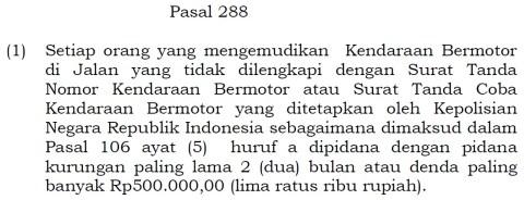 uullj 22 2009 pasal 288 ayat 1