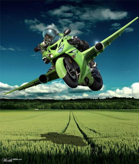 Flying-Kawasaki-Motorcycle