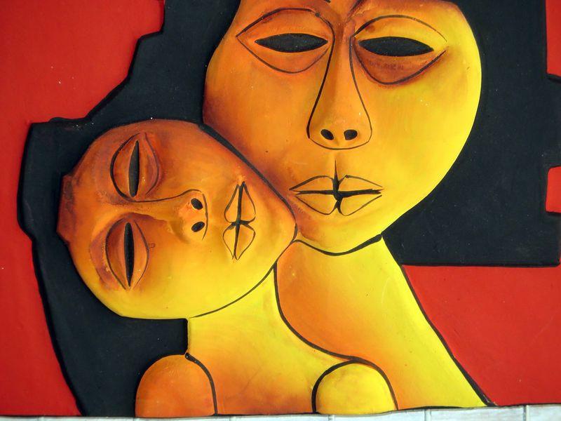 Картина индейцев Освальдо ГУаясамина - рынок в Отавало