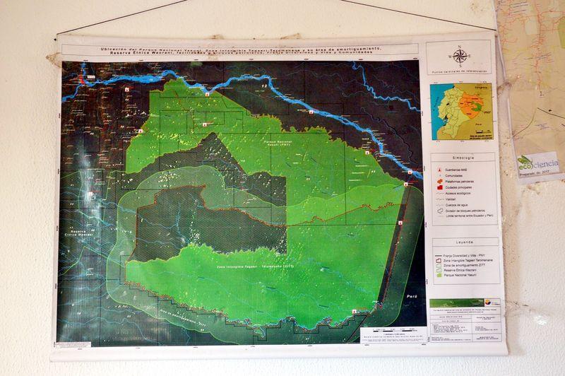 Карта парка Ясуни. Территория тароменане