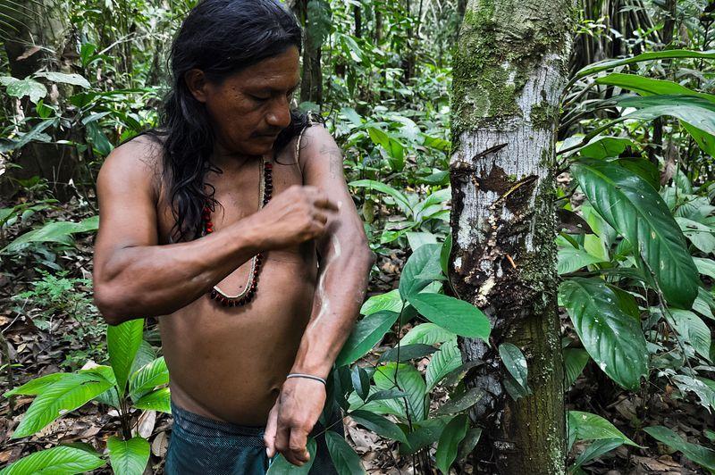 Пенти наносит на кожу традиционный узор натуральной краской растения