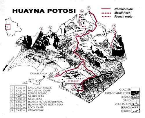 Карта маршрута на Уайна Потоси