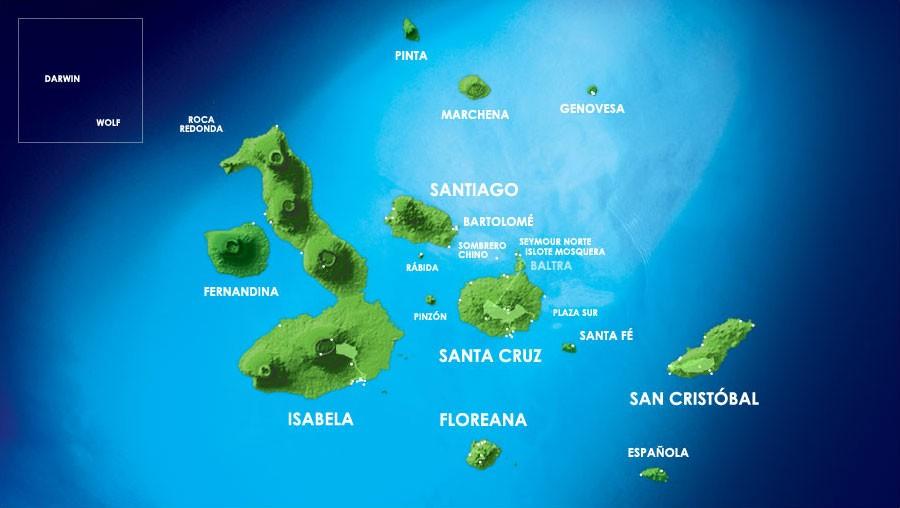 Карта Галапагосские острова