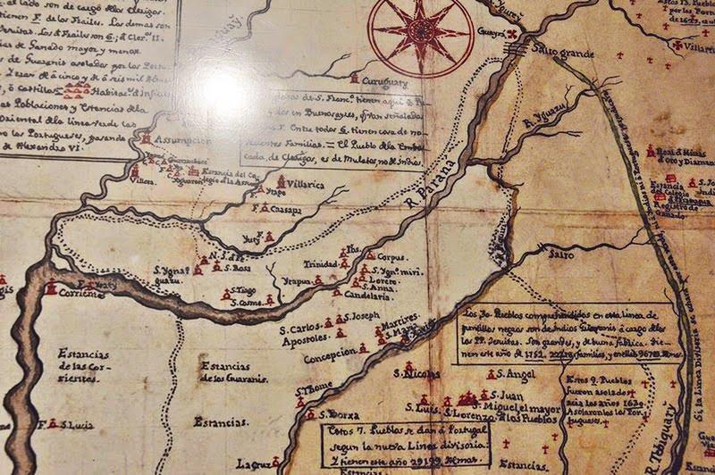 Старинная карта иезуитских миссий на реке Парана