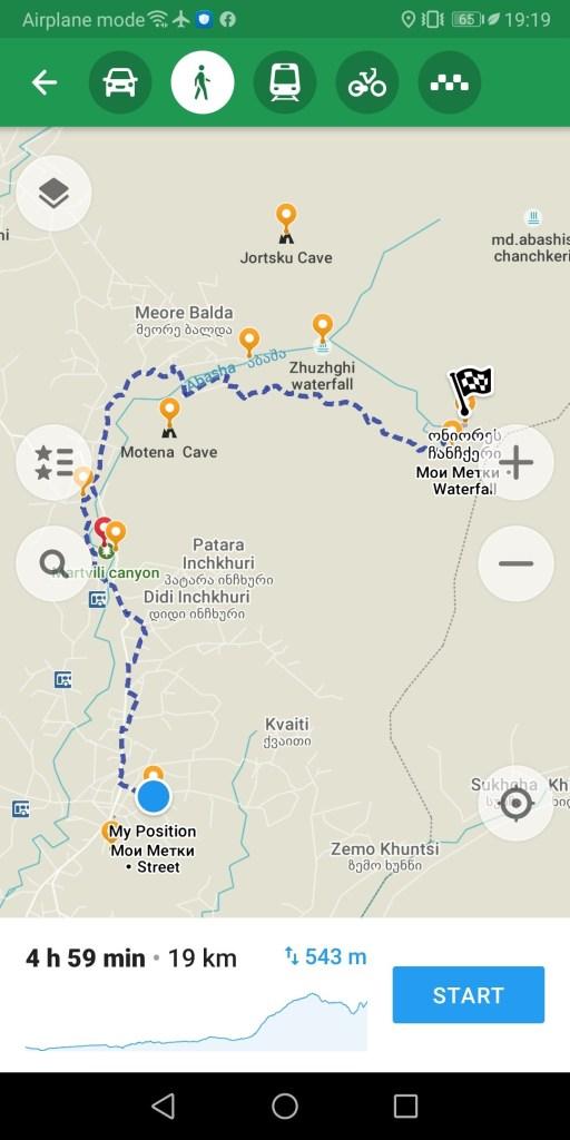 Карта водопад Ониоре