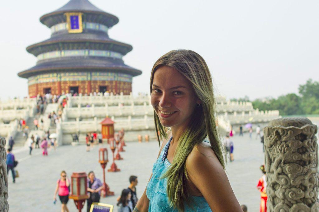 Портрет на фоне храма неба Пекин