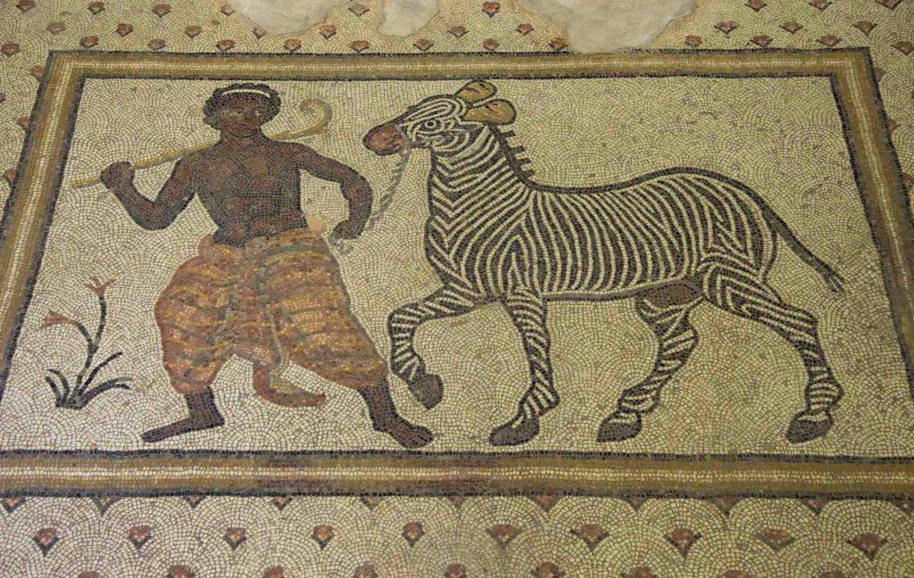 Мальчик и зебра - мозаичное панно