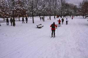 Лыжники в парке - зима в Монреале
