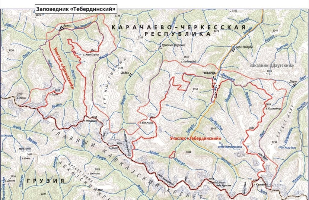 Тебердинский заповедник — карта