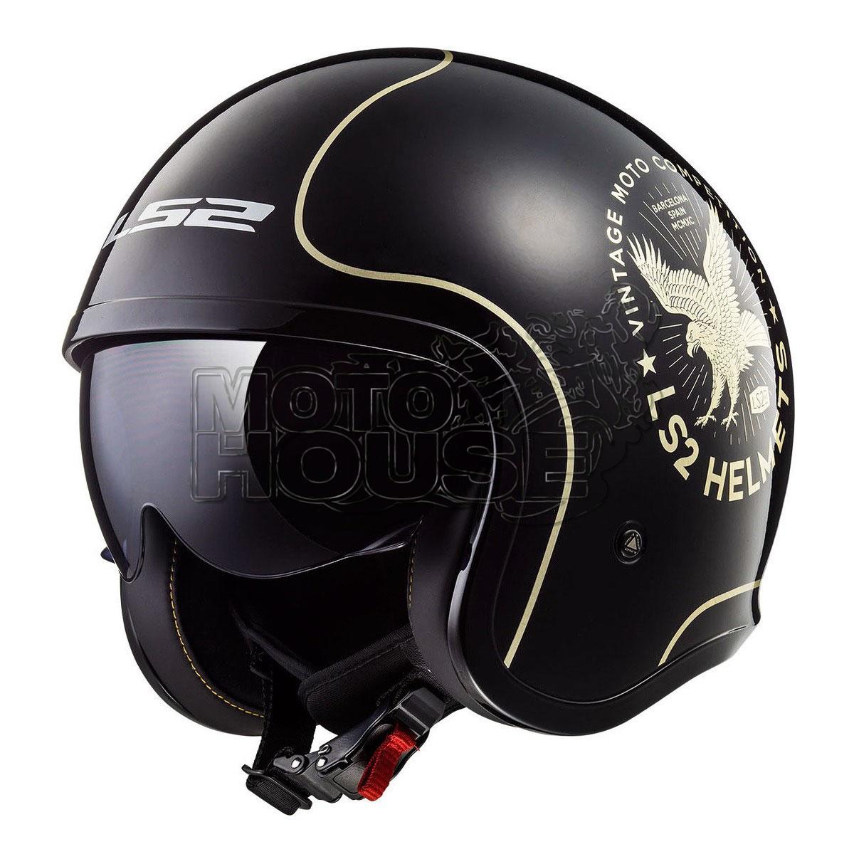 Casco Jet Motociclismo Ls2 Of599 Spitfire Flier Negro