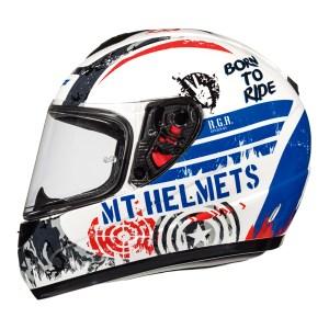 Casco Infantil Para Motociclismo Mt Helmets Thunder Bco/azul