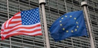Bandeira EUA e bandeira UE