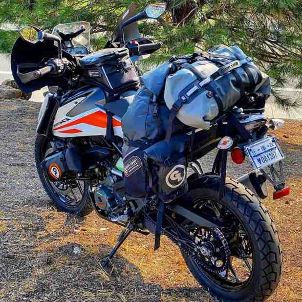 Fully Loaded KTM 390 Adventure with soft saddle bags and accessories.