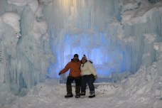 Sitting on an Ice Bench in front of an Ice wall