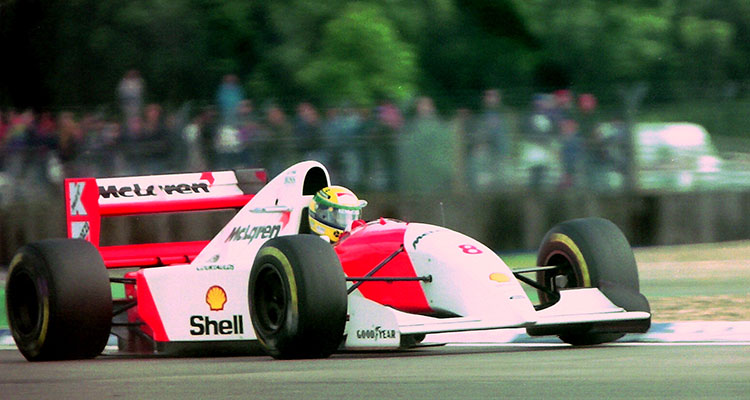 Ayrton Senna Mclaren MP4-8 during practice for the 1993 British Grand Prix (4)