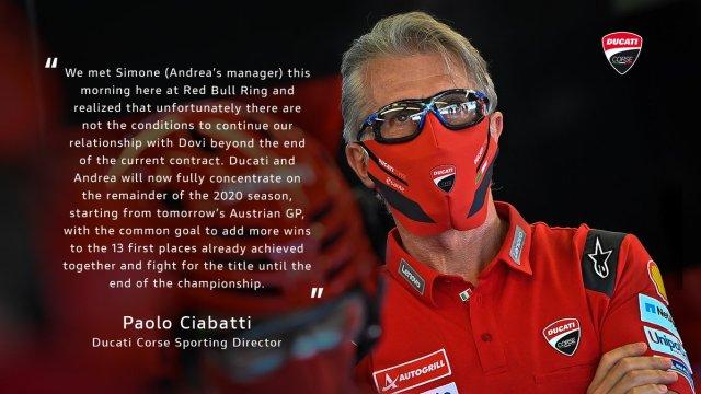 Comunicado Ducati Corse Andrea Dovizioso MotoGP 2020