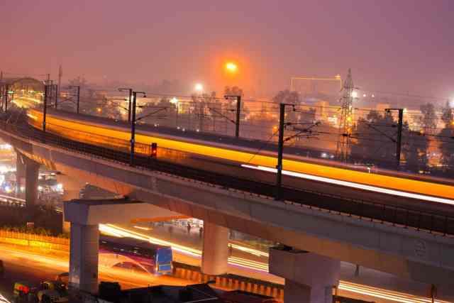delhi city area in night view