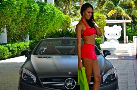 2013 SL63 AMG Mercedes-Benz Fashion Week SWIM Supermodel Bikini Red Side